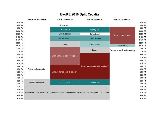 EvoKE 2019 Schedule