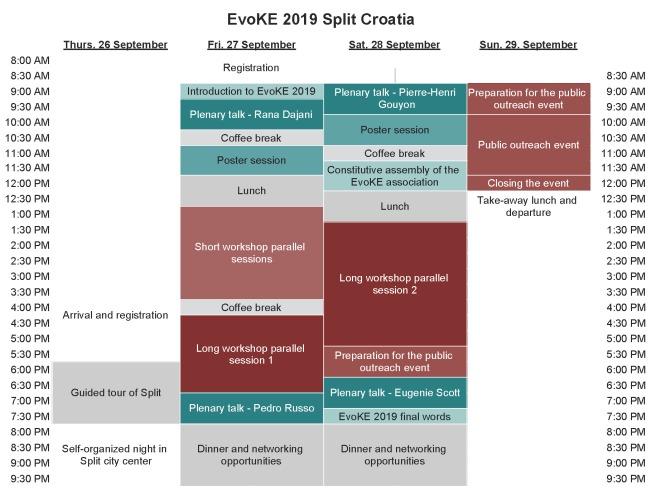EvoKE 2019 Schedule - EvoKE2019 public web